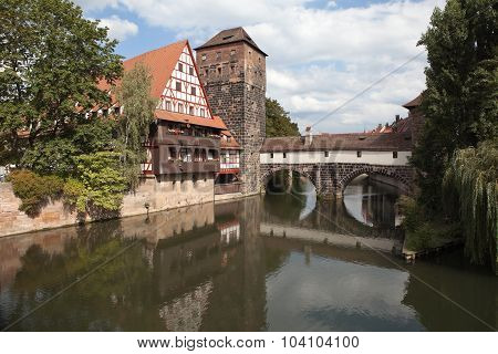 Wine Warehouse, Water Tower and the Bridge of the executioner on the river Pegnitz. Nuremberg.