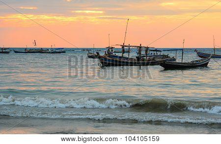 Fisherman Boats At Ngapali Beach