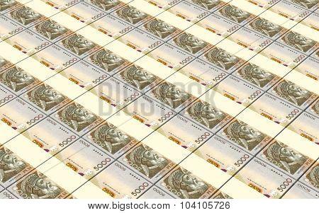 Albanian lek bills stacks background. Computer generated 3D photo rendering.