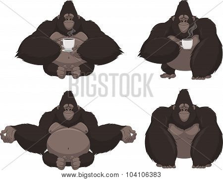 Set of funny gorilla