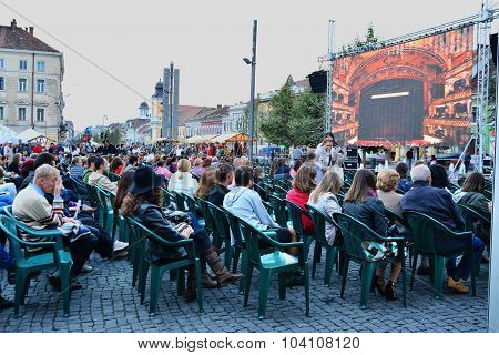 People Gathering To Watch Live Screening From The Romanian Opera House Cluj