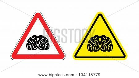 Warning Sign Of Attention To Think. Hazard Yellow Sign Brain Drain. Silhouette Head Brain On Red Tri
