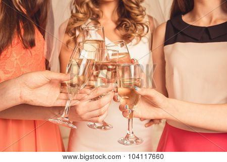 Girls Celebrating A Bachelorette Party Of Bride