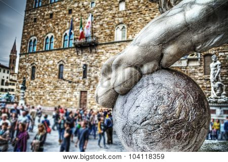 Close Up Of A Lion Paw With Ball In Loggia Dei Lanzi In Florence