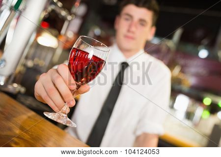 Male barkeeper serving alcohol at bar counter