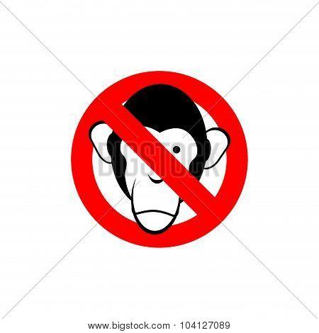 Stop Monkey. Forbidden Macaque. Frozen Head Primacy. Red Forbidden Sign. Ban Animal