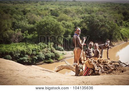 Group Of Karo Near The River Of The Omo