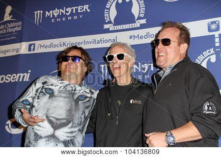 MOORPARK, CA - OCT 5: Jack Black, Robbie Krieger & Scotty Medlock arrive at the 8th Annual Medlock/Krieger Invitational Golf Concert at the Moorpark Country Club in Moorepark, CA on October 5, 2015.