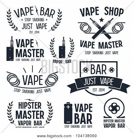 Vapor bar and vape shop logo and e-cigarette icons. Isolated on white background poster