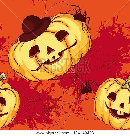 Seamless Pattern, Halloween Pumpkin
