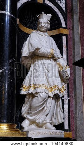 LJUBLJANA, SLOVENIA - JUNE 30: The statue of the Saint Charles Borromeo on the altar in the Franciscan Church of the Annunciation on Preseren Square in Ljubljana, Slovenia on June 30, 2015