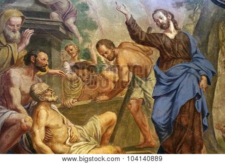 LJUBLJANA, SLOVENIA - JUNE 30: Jesus Miracles - Raising Lazarus, fresco in the St Nicholas Cathedral in the capital city of Ljubljana, Slovenia on June 30, 2015