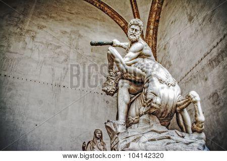 Hercules And Nesso Centaur Statue In Loggia Dei Lanzi