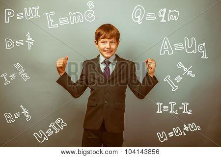 Teen boy genius gesture joy physics formulas around the photo studio retro poster