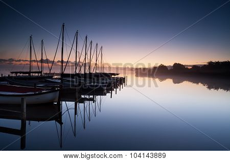 Yacht Harbor At Sunrise