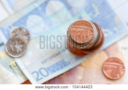 One British Penny Coin And Euro Notes