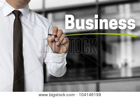 Business Is Written By Businessman Background Concept