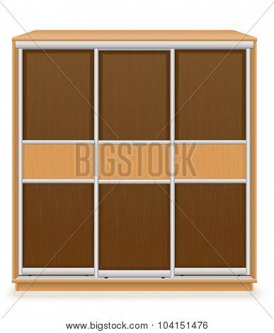 Modern Wooden Furniture Wardrobe With Sliding Doors Vector Illustration