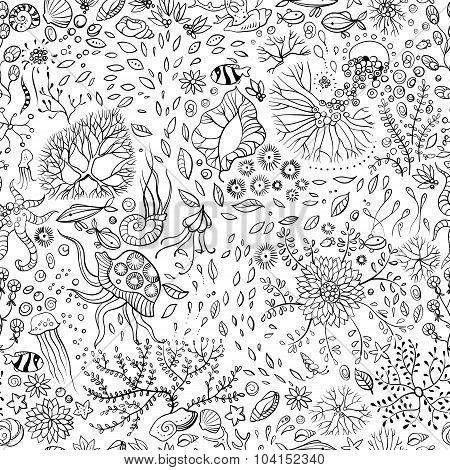 Hand Drawn Underwater World Seamless Background