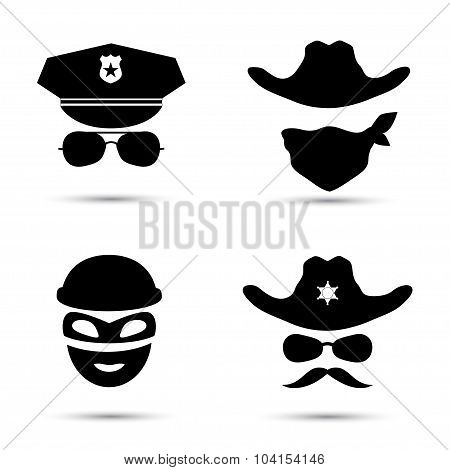 Set of black vector icons. Policeman icon. Thief icon. Sheriff icon. Cowboy icon