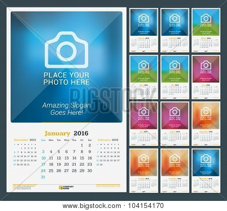 Wall Monthly Calendar For 2016 Year. Vector Design Print Template With Place For Photo. Dark Backgro