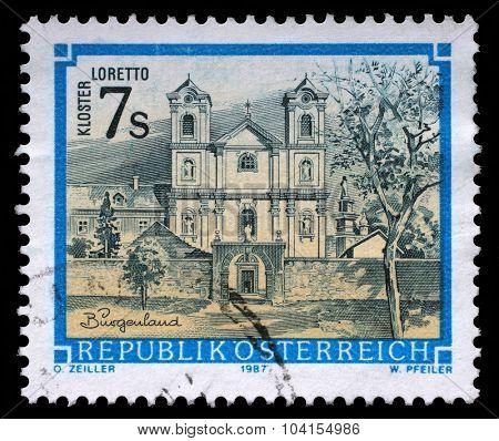AUSTRIA - CIRCA 1987: stamp printed by Austria, shows Loretto monastery in Burgenland, circa 1987