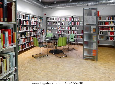 BADEN-BADEN, GERMANY - SEPTEMBER 23: Interior Public Library in Baden-Baden. The City Library Baden-Baden was on 1 April 1901 as a people's library with reading room.
