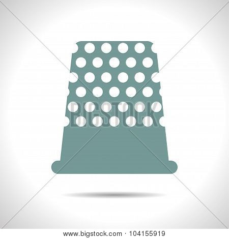 Vector flat color tailor thimble for finger icon  on white background poster