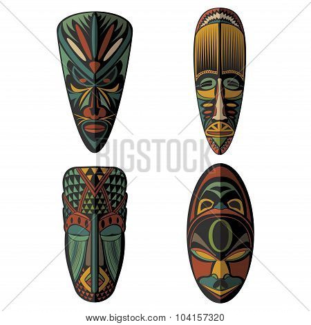 Set of African Ethnic Tribal masks on black background.