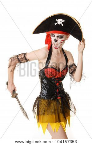 Woman Pirate With A Sword. Costume For Halloween