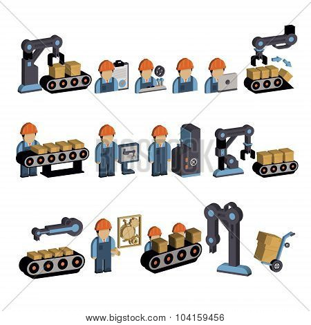 Logistics and Warehouse Icons. Vector Illustration Set