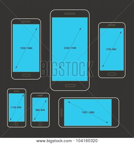 Different modern smartphone resolutions mockups. Design elements