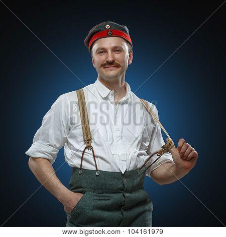 Glad Man In Suspenders.