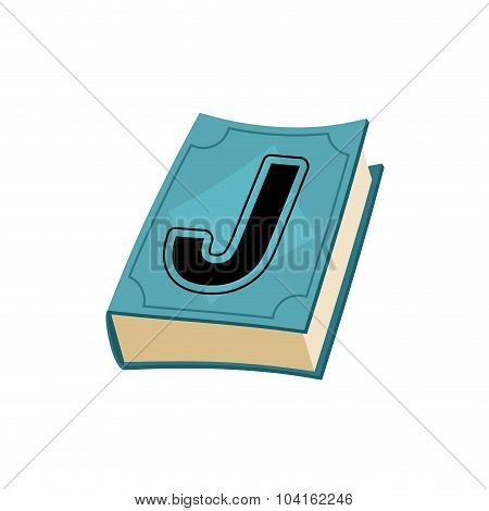 Letter J On Cover Of Retro Book. Concept Of Template Elements Alphabet