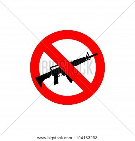 Stop Machine Gun. It Is Forbidden To Shoot. Frozen Silhouette Military Accessory. Against War Emblem