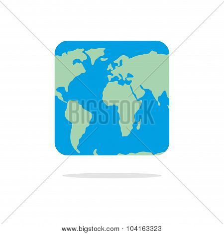 Square World Map. Atlas Of Unusual Shape. Square Earth. Earth In Parallel Universe
