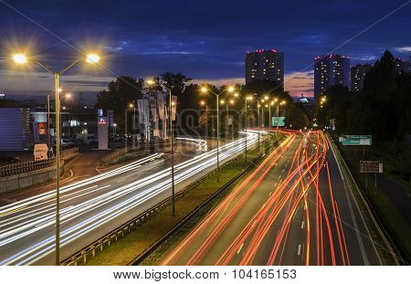 Freeway In Katowice, Poland In The Evening
