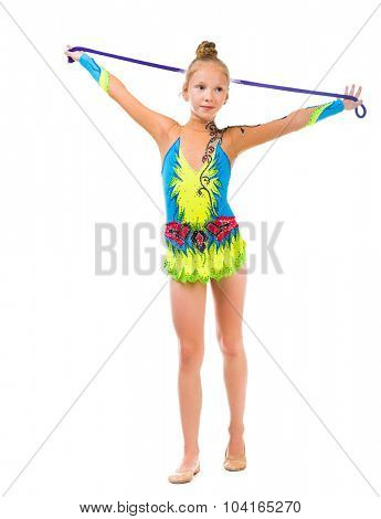 little gymnast holding a skipping rope over her head isolated on white background poster