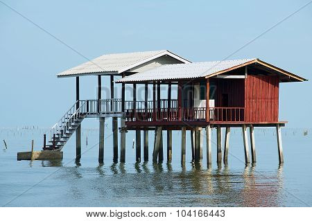 View to the stilt fishermen cabin in the gulf in Tha Thong, Surat Thani province, Thailand.