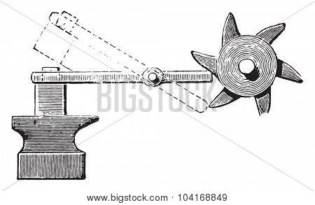 Camshaft applied to a hammer, vintage engraved illustration. Industrial encyclopedia E.-O. Lami - 1875.