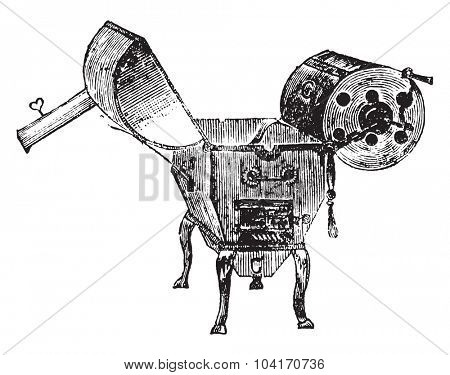 Coffee roaster, vintage engraved illustration. Industrial encyclopedia E.-O. Lami - 1875.