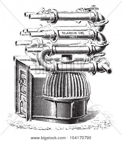 Furnace with bell fins, vintage engraved illustration. Industrial encyclopedia E.-O. Lami - 1875.