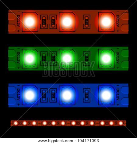 EPS10 vector glowing LED light strip seamless