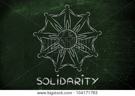 Mankind Holding Hands Around The Planet, Concept Of Solidarity