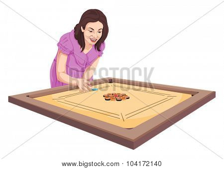 Vector illustration of woman playing carom game.
