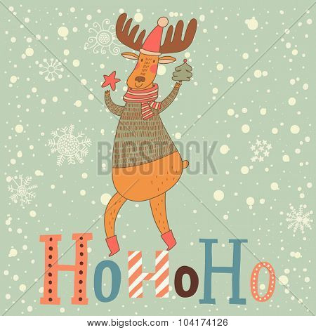 HoHoHo holiday card with lovely deer dancing under snowfall. Muted Christmas and New Year background in vector