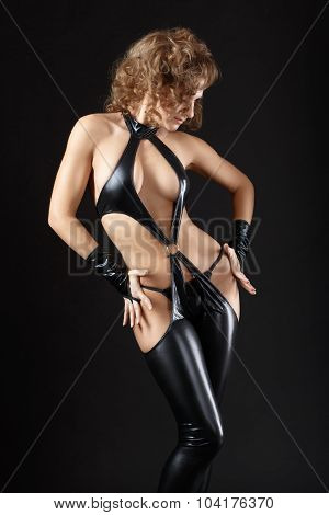 Dancing Model Dressed In Clothes From Latex