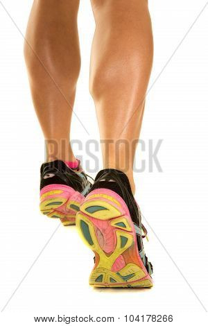 Woman Legs Very Fit From Back Walk Away