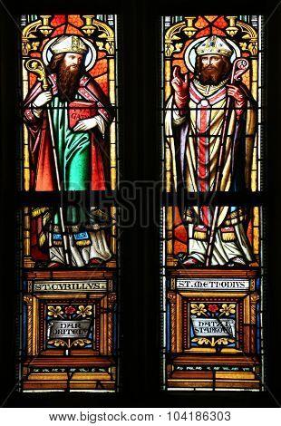 ZAGREB, CROATIA - NOVEMBER 21: Saint Cyril and Methodius, stained glass window in parish church of Saint Mark in Zagreb, Croatia on November 21, 2014