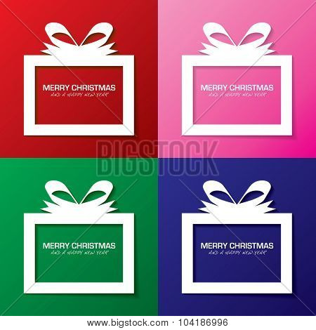Collection christmas gift boxes with a holiday message